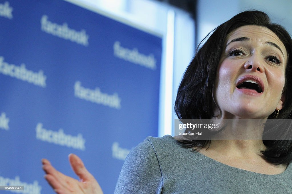 Facebook's Chief Operating Office Sheryl Sandberg Makes Announcement With Mayor Bloomberg : News Photo
