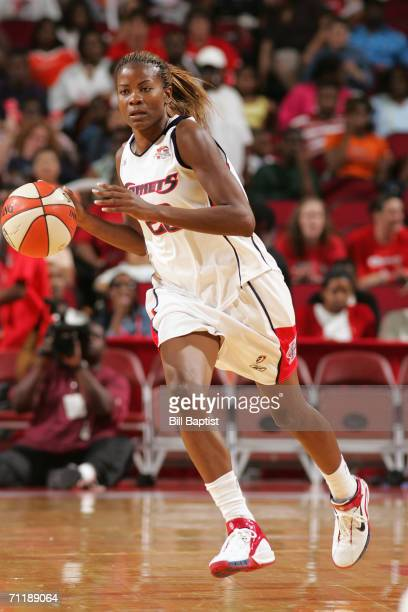 Sheryl Swoopes of the Houston Comets moves the ball up court during a game against the San Antonio Silver Stars at the Toyota Center on May 21 2006...