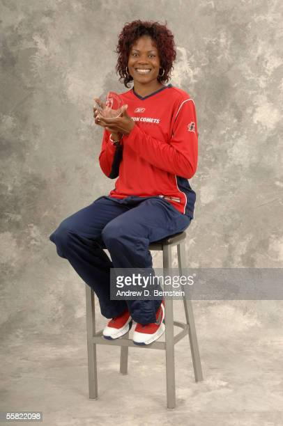 Sheryl Swoopes of the Houston Comets poses for a portrait after being named to the AllWNBA first team before the game between the Sacramento Monarchs...