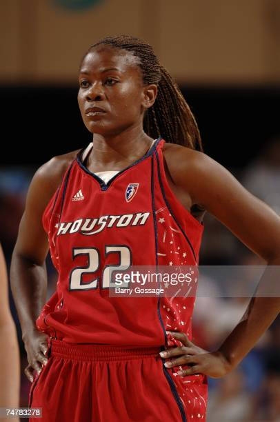 Sheryl Swoopes of the Houston Comets stands on the court during the WNBA game against the Phoenix Mercury on May 25 2007 at US Airways Center in...