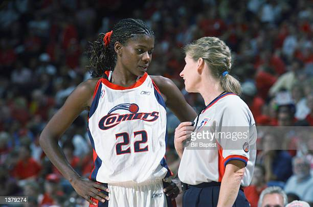 Sheryl Swoopes of the Houston Comets talks with a referee in Game two of the Western Conference Semifinals during the 2002 WNBA Playoffs against the...