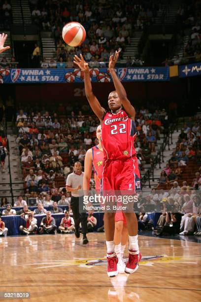 Sheryl Swoopes of the Western Conference AllStars shoots against the Eastern Conference AllStars during the 2005 WNBA AllStar Game on July 9 2005 at...
