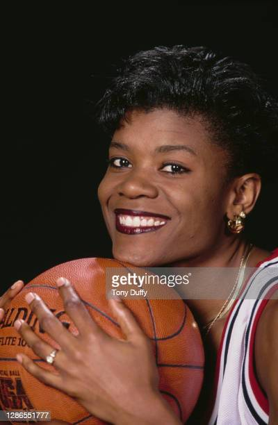 Sheryl Swoopes, Shooting Guard for the United States women's basketball team during a portrait photo session circa 1994 at the Allen Fieldhouse...