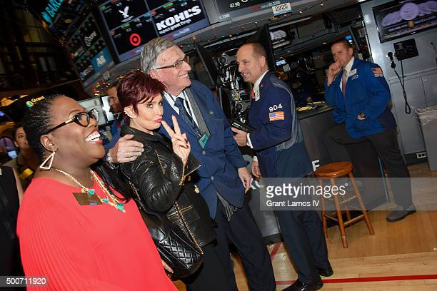 Sheryl Underwood and Sharon Osbourne of CBS' 'The Talk' ring the closing bell at the New York Stock Exchange on December 9 2015 in New York City