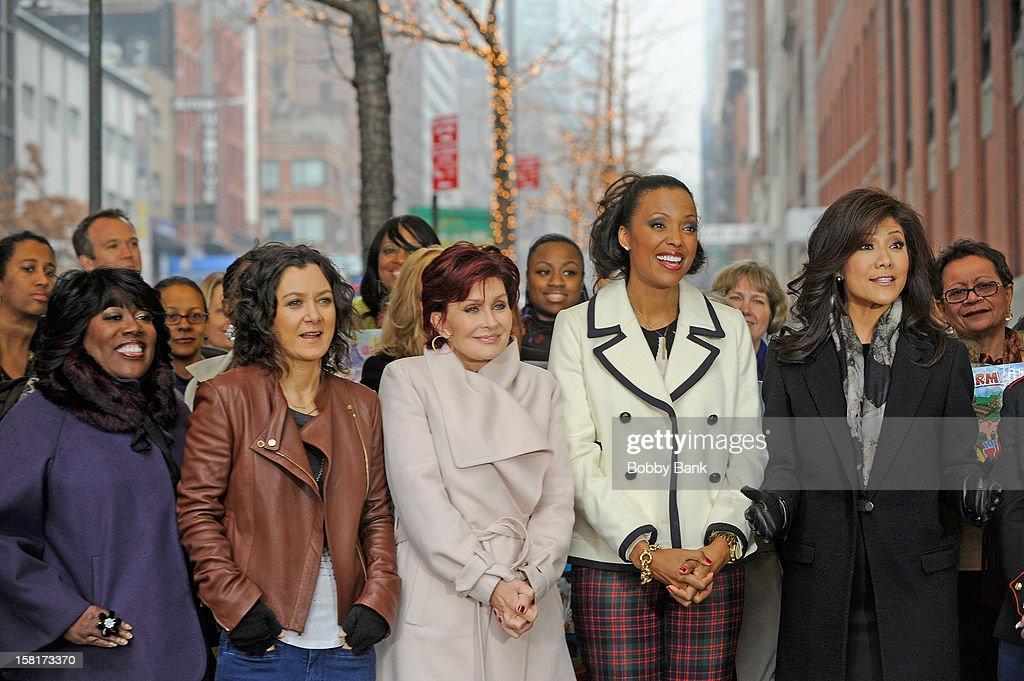 Sheryl Underwood, Sara Gilbert, Sharon Osborne, Aisha Tyler and Julie Chen visit 'The Talk' at CBS Studios on December 10, 2012 in New York City.