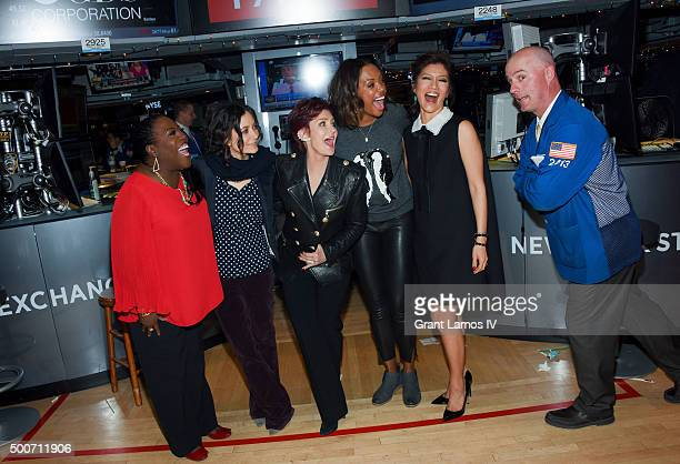 Sheryl Underwood Sara Gilbert Sharon Osbourne Aisha Tyler and Julie Chen of CBS' 'The Talk' ring the closing bell at the New York Stock Exchange on...