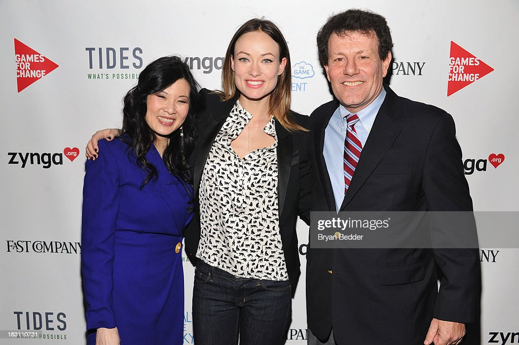 Sheryl WuDunn, Olivia Wilde and Nicholas D. Kristof attend Games For Change presents the launch of Half The Sky Movement: The Game at No. 8 on March 4, 2013 in New York City.