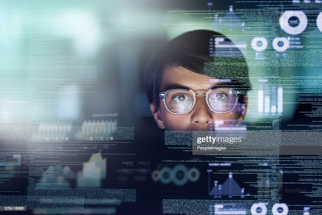 She's a genius programmer : Stock Photo