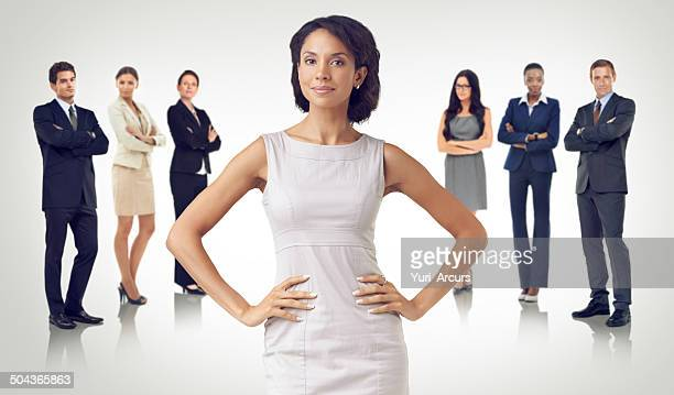 she's a great business leader - arms akimbo stock pictures, royalty-free photos & images
