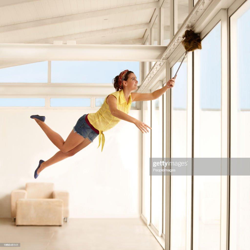 She's a housework fairy! : Stock Photo