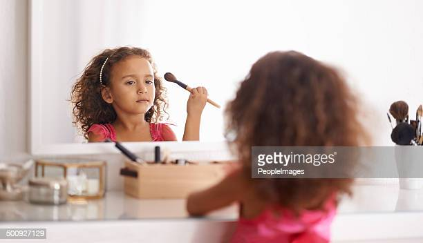 she's a natural - girl in mirror stock photos and pictures