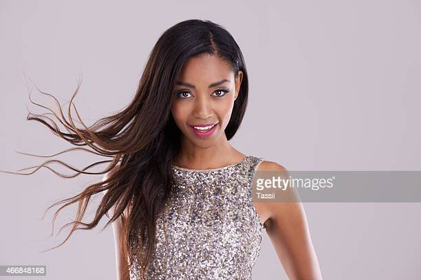 she's all about the glitz and glam - black hair stock pictures, royalty-free photos & images