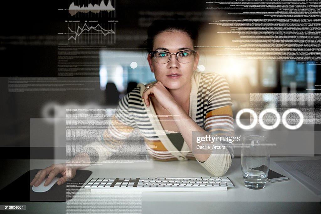 She's becoming part of the matrix : Stock Photo