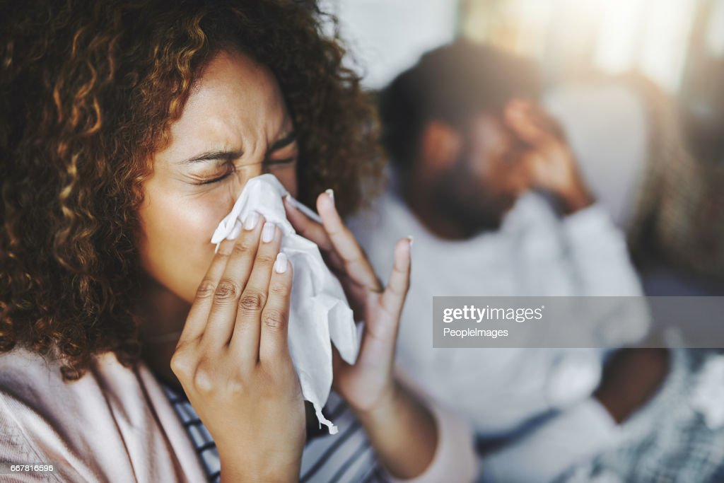 She's been sneezing non-stop : Stock Photo