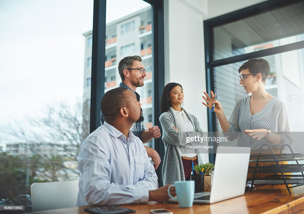 She's bringing some of her bright ideas to the front : Stock Photo