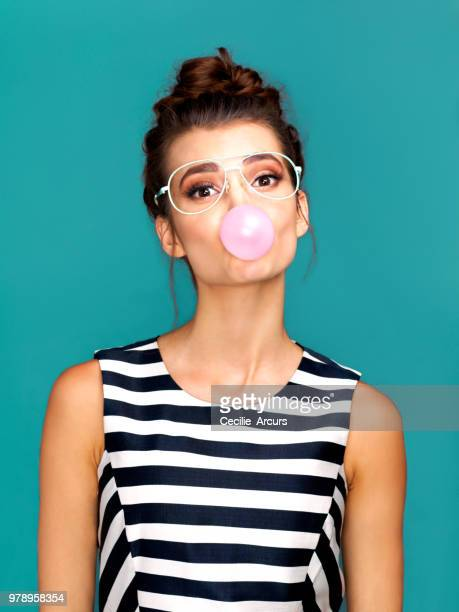 she's bubbling over with attitude - bubble gum stock pictures, royalty-free photos & images
