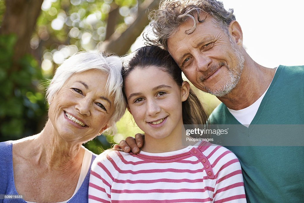 She's close to her grandparents : Stock Photo