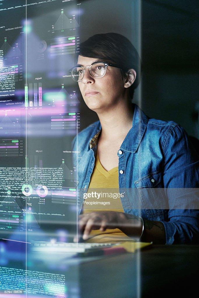 Sie ist die Entwicklung erweiterte code : Stock-Foto
