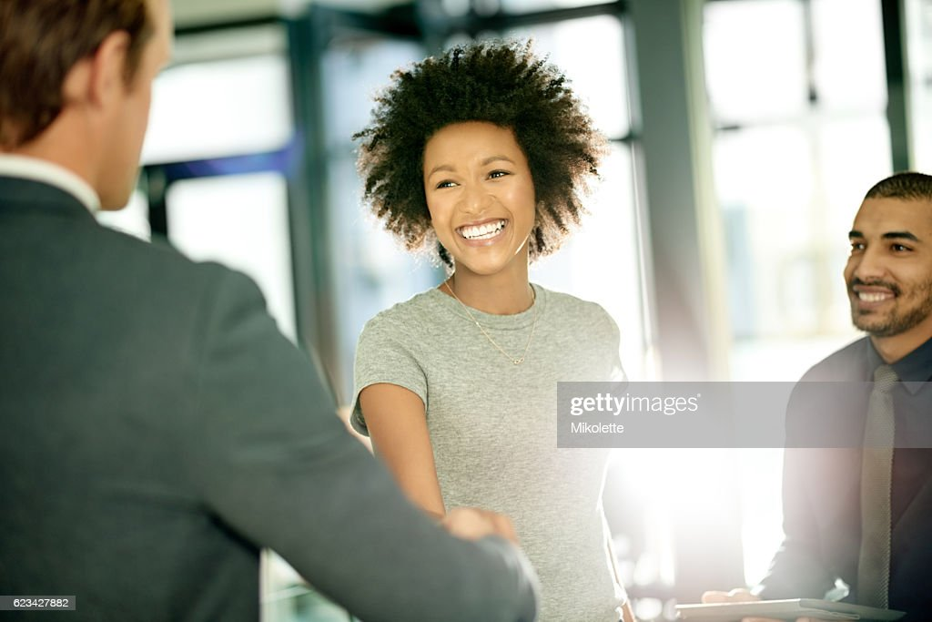 She's eager and excited to be joining a new team : Stock Photo