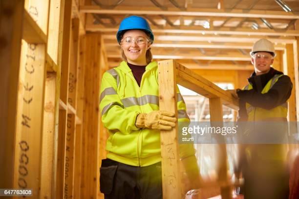 she's enjoying her job in construction