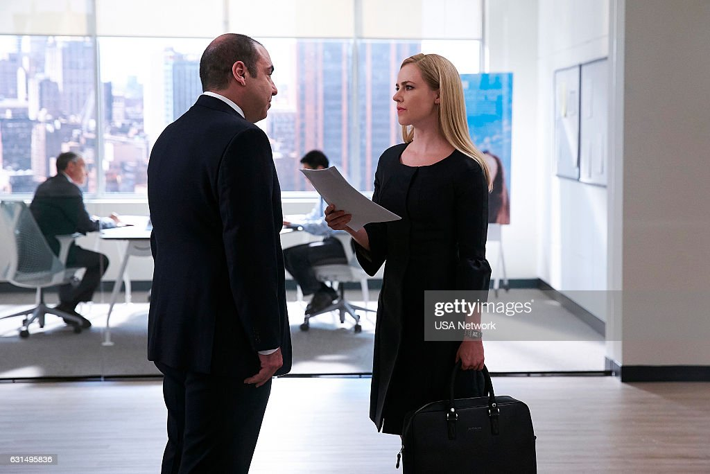 SUITS -- 'She's Gone' Episode 611 -- Pictured: (l-r) Rick Hoffman as Louis Litt, Amanda Schull as Katrina Bennett --