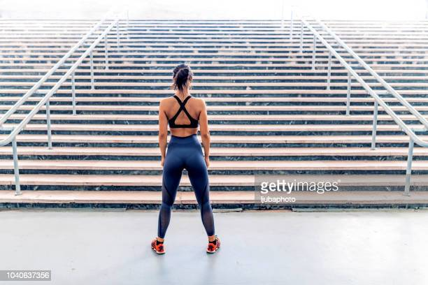 she's got a great attitude for a great workout - sports bra stock pictures, royalty-free photos & images