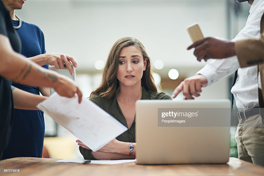 She's got a serious case of the Monday blues : Stock Photo