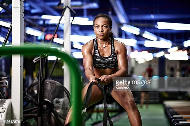 she's got hold of her fitness goals - black female bodybuilder stock photos and pictures