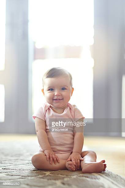 she's got some mischief in her eyes - baby girls stock pictures, royalty-free photos & images