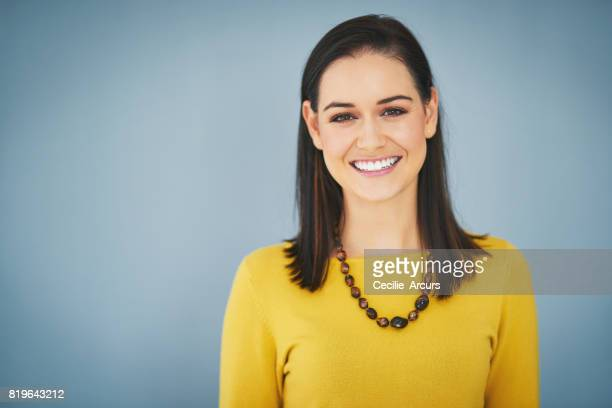 she's got that beautiful radiance that confident women have - front view photos stock photos and pictures