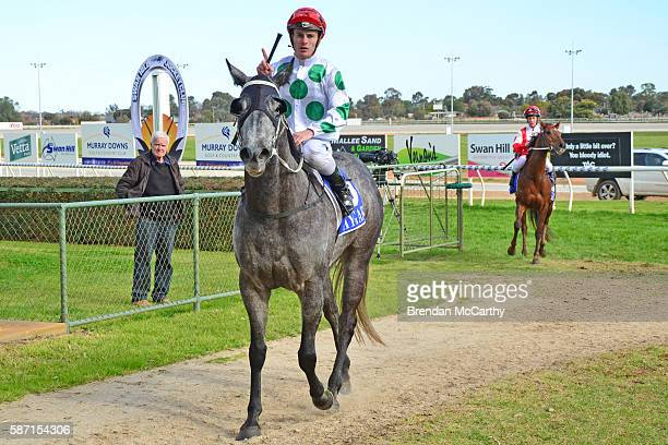 She's Just Lika ridden by Jarrod Fry returns to the mounting after winning Vetta Spaghetti BM58 Handicap at Swan Hill Racecourse on August 08 2016 in...