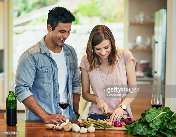 she's making something healthy tonight - couples making passionate love stock pictures, royalty-free photos & images