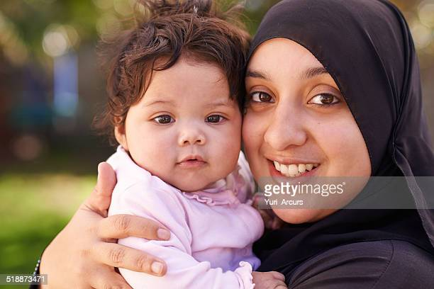 she's my little love - muslim mother stock pictures, royalty-free photos & images