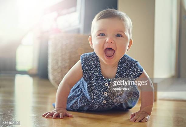 she's on the move - baby girls stock pictures, royalty-free photos & images