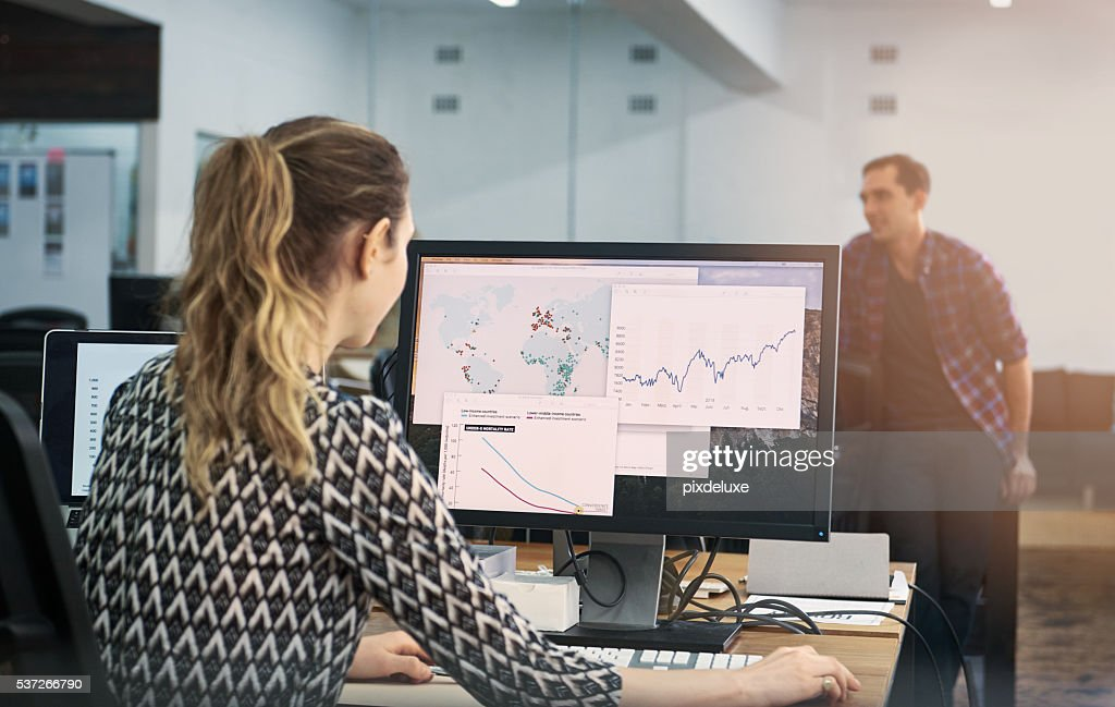 She's putting their startup on the map : Stock Photo