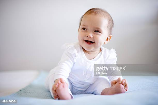 she's such a happy little one - baby girls stock pictures, royalty-free photos & images