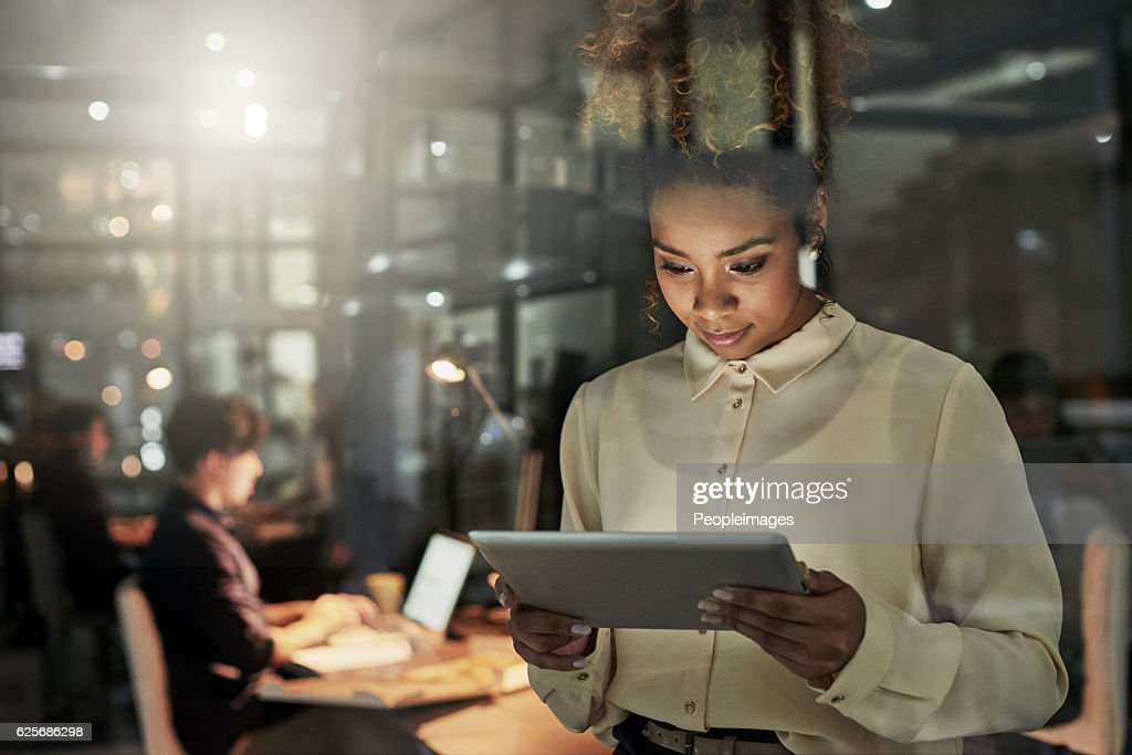 She's taking the lead on this project : Stock Photo