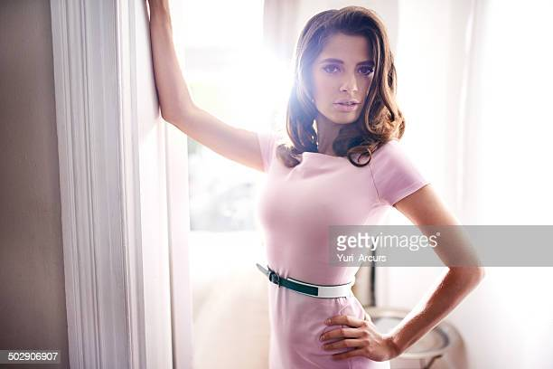 she's waiting for you in the doorway - pink dress stock photos and pictures