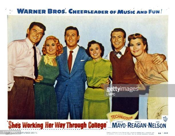 She's Working Her Way Through College US lobbycard from left Ronald Reagan Virginia Mayo Don DeFore Phyllis Thaxter Gene Nelson Patrice Wymore 1952