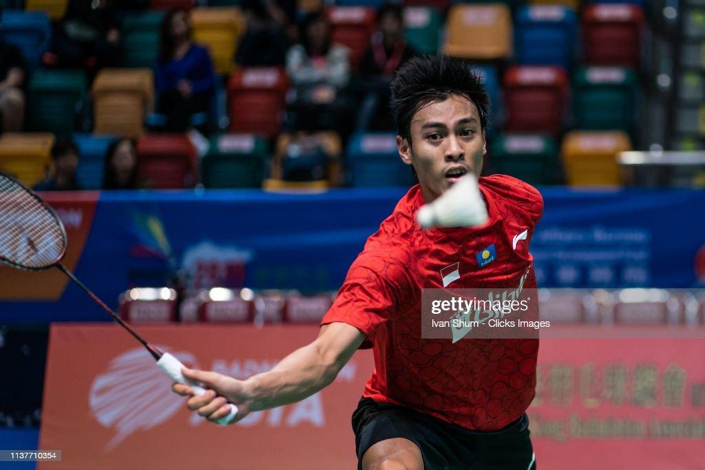 Shesar Hiren Rhustavito from Indonesia during the Badminton