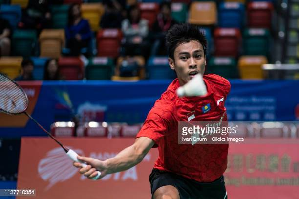 Shesar Hiren Rhustavito from Indonesia during the Badminton Asia Mixed Team Championships 2019 Tong Yun Kai Cup semi finals at the Queen Elizabeth...