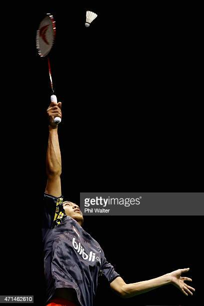 Shesar Hiren Rhustavito of Indonesia plays a return to Howard Shu of the USA during their mens singles match in the 2015 Badminton Open at the North...