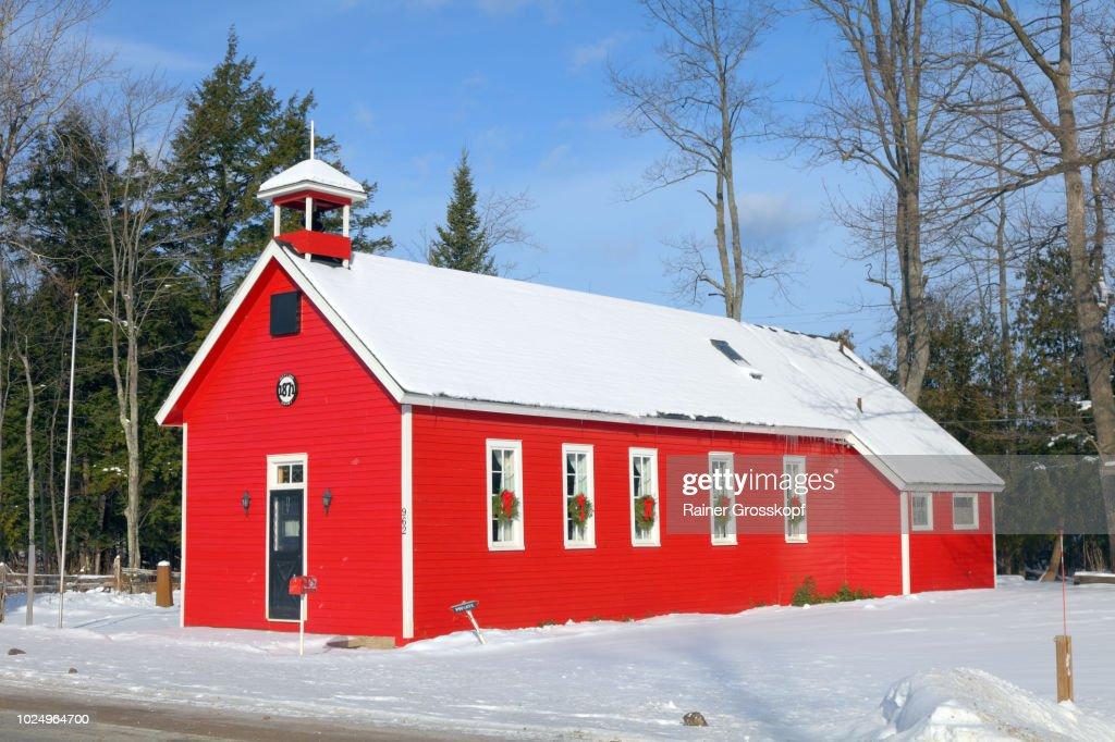 Shetland School (1871) in winter : Stock Photo