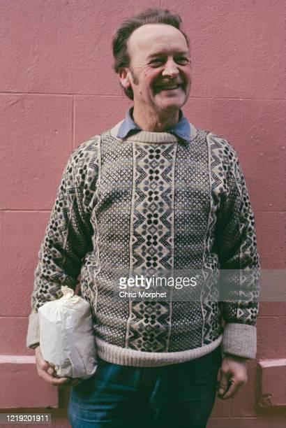 A Shetlander wearing a traditional Fair Isle sweater Lerwick Mainland Shetland Scotland June 1970