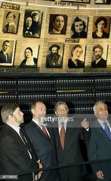 Shevach Weiss Chairman of Yad Vashem and Holocaust survivor Russian President Vladimir Putin Avner Shalev director of Yad Vashem and Israeli...