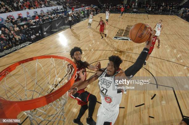 Shevon Thompson of the Raptors 905 drives to the basket during the NBA G League Showcase Game 22 between the Sioux Falls Skyforce and the Raptors 905...