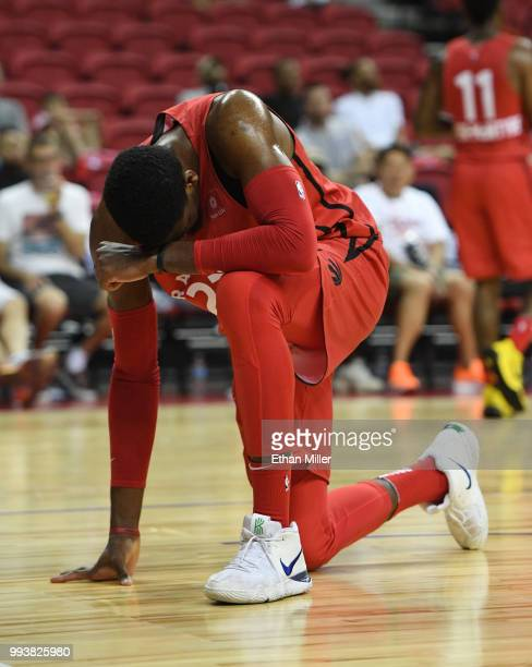 Shevon Thompson of the Toronto Raptors reacts after losing the ball during a 2018 NBA Summer League game against the New Orleans Pelicans at the...