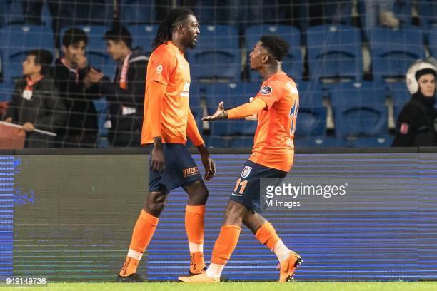 Sheyi Emmanuel Adebayor of Istanbul Medipol Basaksehir FK Eljero George Rinaldo Elia of Istanbul Medipol Basaksehir FK during the Turkish Spor Toto...