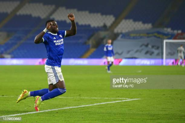 Sheyi Ojo celebrates scoring the fourth goal for Cardiff City FC during the Sky Bet Championship match between Cardiff City and Luton Town at Cardiff...