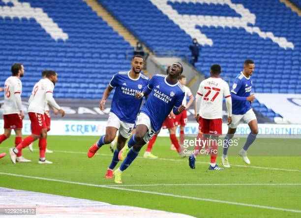 Sheyi Ojo of Cardiff City FC celebrates after scoring their first goal during the Sky Bet Championship match between Cardiff City and Middlesbrough...